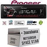 Mitsubishi Space Star - Autoradio Radio Pioneer MVH-S100UI - | MP3 | USB | Android | iPhone Einbauzubehör - Einbauset