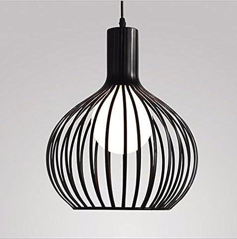 LighSCH Lustres Fer à Repasser Simple nordique Birdcage café Art Restaurant-Bar-lampe ronde tête unique lustre industriel, noir 28*36cm