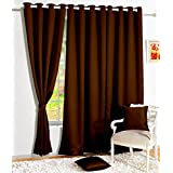 Home Pictures Blackout Plain Faux Silk Premium Solid 2 Piece Curtains (Color-Brown, Window-4x5feet)