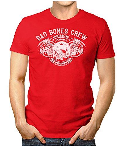 PRILANO Herren Fun T-Shirt - BAD-BONES-CREW - Small bis 5XL - NEU Rot