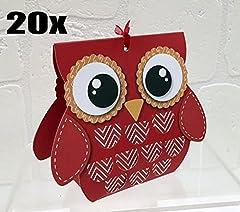 Idea Regalo - 20 PEZZI Portaconfetti Gufo ROSSO LAUREA nastro escluso scatolina carta BOMBONIERA