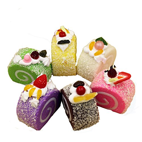 Sinto 4 Stück Squishy Charms kawaii Swiss Roll weiche Lebensmittel Jumbo Squishies Kühlschrankmagnete Whiteboard-Magnete (Squishy-kuchen-roll)