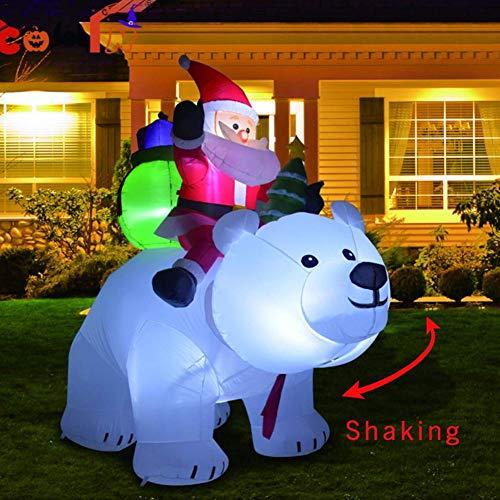 Père Noël Gonflable, père Noël de chevauchant l'ours Blanc pour la décoration de Jardin de Cour intérieure/extérieure de Noël, gonflage Rapide, Gonflable De Noël De Poupée, Christmas Santa Claus, 2M