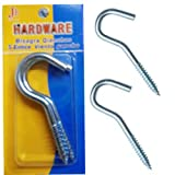 2 x Screw Hook Nails Large S Heavy Duty Wall Fixing Hanging Steel Thread Screws 100mm