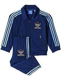adidas Baby Jungen (0-24 Monate) Sweatanzug Blau Blau (Shadow Blue)