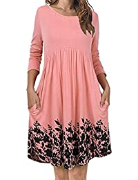 Overdose Women Dress Floral Loose Long Sleeve Casual Dress With Pockets