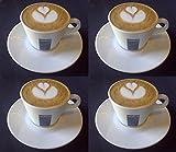 4 X Lavazza 5.5oz Cappuccino Porzellan Tassen und Untertassen. -