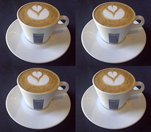 4 X Lavazza 5.5oz Cappuccino Porzellan Tassen und Untertassen.