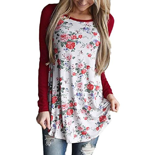 OVERDOSE Damen Frauen Mode Langarm Floral Blumen Striped Splicing O-Ansatz T-Shirt Bluse (S, Rot)