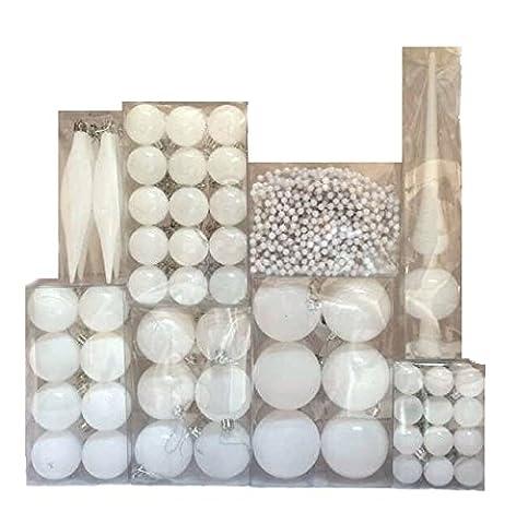 130 Christbaumkugeln Weiß 3 bis 7 cm Dekokugeln + Christbaumspitze Weihnachtskugeln Baumkugeln Baumschmuck