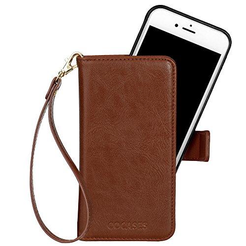 COCASES kompatibel mit iPhone 6 Hülle & 6S Hülle, Multi-Funktion Schutzhülle, 2in1 herausnehmbare Geldbörse Style Leder Tasche mit Magnetverschluss (Braun)
