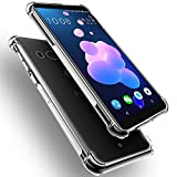 HTC U12+/HTC U12 Plus Coque Cover, QULLOO TPU Transparent Coque Case Cover de Protection Pare-Chocs Coussin d'Air Flex Soft Portable Shell Bling Bling Extra Slim Skin Parfait Fit pour HTC U12+/HTC U12 Plus
