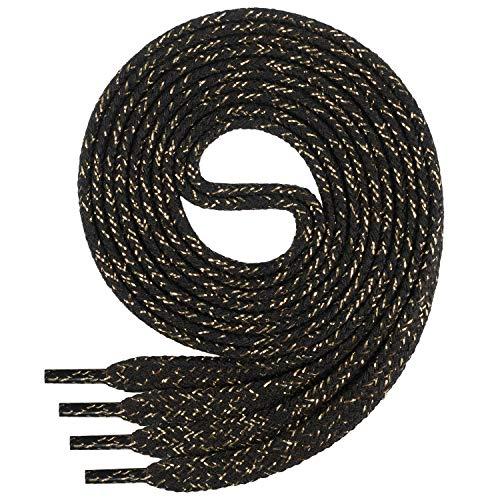 Di Ficchiano Flache SCHNÜRSENKEL aus 100% Baumwolle für Sneaker und Sportschuhe - sehr reißfest - ca. 7 mm breit-black/gold-140