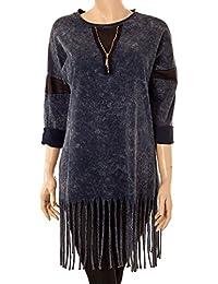 Longshirt Batik Azteken Style Lederimitat & Fransen
