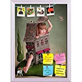 ArtzFolio Girl In Small House On The Lawn Printed Bulletin Board Notice Pin Board cum White Framed Painting 12 x 16.6inch