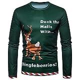 Moonuy Männer Weihnachten Langarm Bluse Mann Festival Pullover Kostüm Santa Print Urlaub Humor Langarm T-Shirt Weihnachten Top Party Outwear