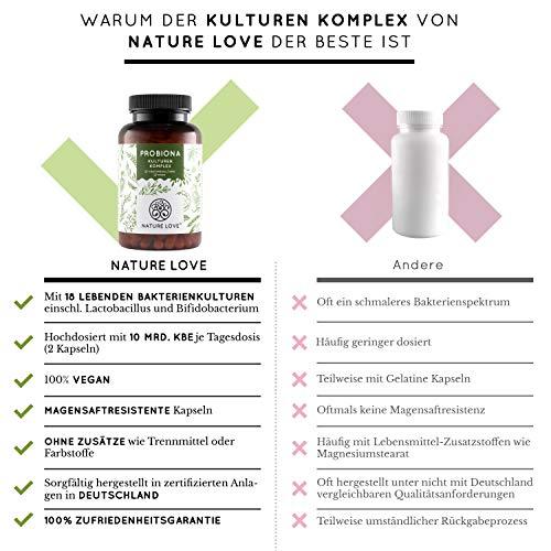 NATURE LOVE® Probiona Kulturen Komplex – 18 Bakterienstämme + Bio Inulin. 180 magensaftresistente Kapseln. Mit u.a. Lactobacillus, Bifidobacterium. Vegan, hochdosiert,