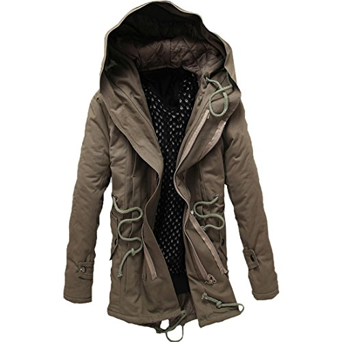 GWELL Herren Wintermantel Lang Mantel mit Kapuze aus Baumwolle Übergangsmantel Parka Steppmantel Lässig,  4XL (4XL = Tag 5XL),  Khaki