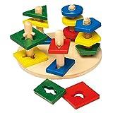 Small Foot by Legler Steckspiel Motorik-Türme aus Holz, ein schönes Lernspielzeug für Babys und Kleinkinder, geometrische Formen werden auf unterschiedlichen Türmen platziert, schult die Feinmotorik und das räumliche Denken