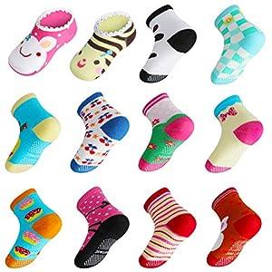 Lictin 14 Pares Antideslizante Calcetines Calcetines Calcetines de niño Talla 2-3 años de Edad los niños Surtidos Animal… 9