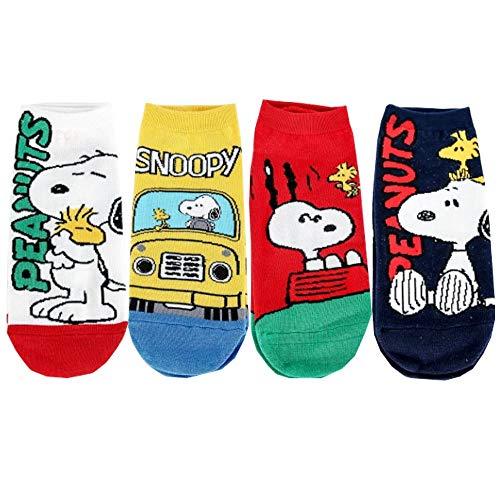 Die Peanuts Comics Charakter Damen Knöchel Socken mit Beutel Packung mit 4 Paaren - Snoopy, Woodstock