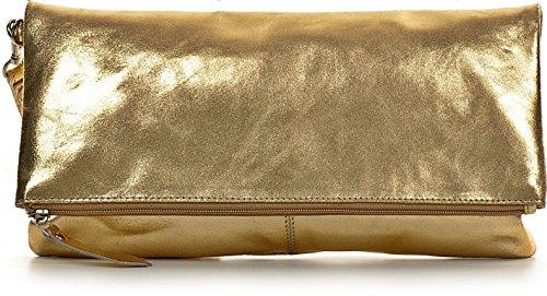 CNTMP, Damen Handtaschen, Clutch, Clutches, Clutchbags, Unterarmtaschen, Partybags, Trend-Bags, Metallic, Leder Tasche, 32x17x2,5cm (B x H x T), Farbe:Gold (Leder Clutch Handtaschen Aus Gold)