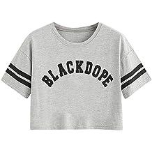 Damark(TM) Ropa Camisetas Mujer, Camisas Mujer Verano Elegantes Stripe Carta Print Blouse