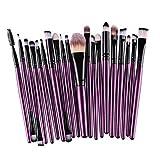 HENGSONG 20PCS Professional Makeup Brushes Set Eyeshadow Eyeliner Lip Brush Powder Foundation Beauty Tools Kit (Purple Black)