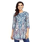 Damen Langarmshirt 3/4 Arm Bluse Vintage Blumenmuster Oberteile Rundhals Tops, Hellblau-blumen,  XL