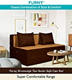 Furny Dreamstyle Two Seater Sofa Cum Bed (3 Years Warranty 36 Density Foam)- Perfect for Daily Use - Sofa Cum Bed Washable Polyster Fabric Cover (Camel- Brown) 6'X4'. Pillows Free Amazon Rs. 9999.00