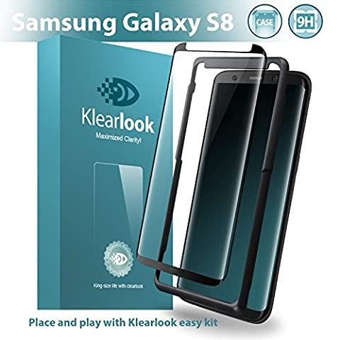 [With Free Easy Kit] Klearlook® Samsung Galaxy S8 [Case Friendly Tempered Glass] Clear Glass Screen Protector with [High Transparency] [No Peeling Off] [Easy Application with Free Self-Installation Tool]
