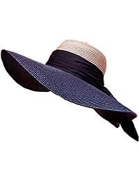 LHA Cappello di paglia Cappello estivo di spiaggia femminile Cappello  estivo di protezione solare Spiaggia nera a88e858fc289