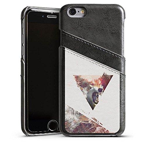 Apple iPhone 5s Housse Étui Protection Coque Hipster Loup Triangle Étui en cuir gris