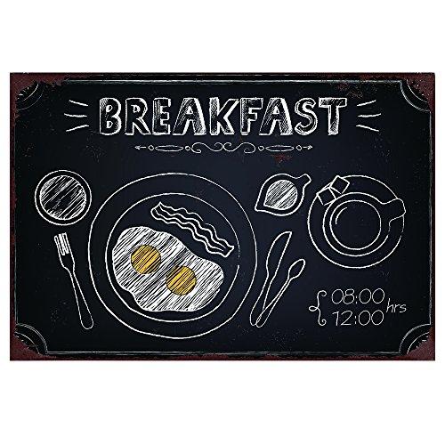 Club-aluminium-töpfe (Blechschilder Metallschild schwarz Breakfast Wandschilder Aluminium 30x30cm)