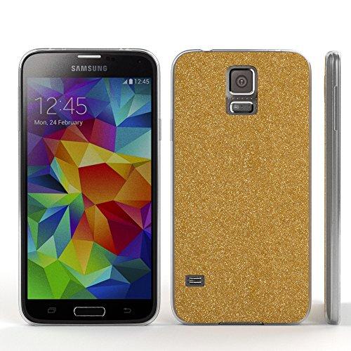Samsung Galaxy S5 / S5 Neo Hülle - EAZY CASE Handyhülle - Ultra Slim Glitzer Schutzhülle aus Silikon in Pink Glitzer Gold