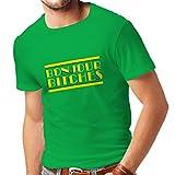 N4315 Männer T-Shirt Bonjour Bitches! (Small Grün Mehrfarben)