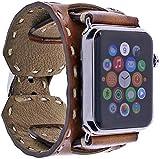 Burkley Lederarmband für Apple Watch 1/2 / 3/4 Uhrenarmband in breiter Ausführung mit Dornverschluss inkl. 42 mm Connector für die Apple Watch (Sattel Braun)