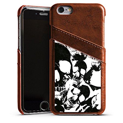 Apple iPhone SE Housse Outdoor Étui militaire Coque Crâne Noir et blanc Gothique Étui en cuir marron