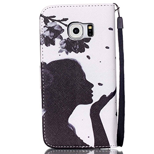 Meet de Samsung Galaxy S6 Edge Bookstyle Étui Housse étui coque Case Cover smart flip cuir Case à rabat pour Galaxy S6 Edge Coque de protection Portefeuille - this iphone is locked slide to unloke Fille