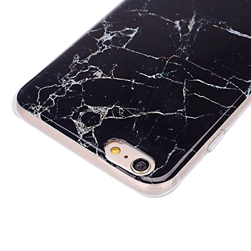 Etsue TPU Schutzhülle für iPhone 6s Plus/iPhone 6 Plus IMD Technologie Marmor Design Silikon Handyhülle Soft Case Cover, iPhone 6s Plus/iPhone 6 Plus Marble Malerei Gummi Dünn Durchsichtig Transparent Marmor,schwarz