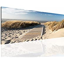 !!! SENSATIONSPREIS !!! Bilder 110 x 40 cm - Strand Bild - Vlies Leinwand - Kunstdrucke -Wandbild - XXL Format – mehrere Farben und Größen im Shop - Fertig Aufgespannt !!! 100% MADE IN GERMANY !!! - Sand – Meer – Himmel 604011a