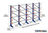 Kragarmregal KR6000 für extrem schwere Lasten, 1000kg/Arm, 3000kg/Ständer, Breite 9,1m, Höhe: 6m, Armtiefe 75cm, 6 Ebenen, einseitig, Langgutregal