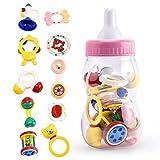 10 Pezzi Sonaglio per Bimbi Safe&Care Set Giocattoli Massaggiagengive per Neonati con Bottiglia Latte, per Bambini e Bambine – Rosa