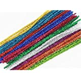 "Ziggle100 Pcs Multicolored 12"" Glitter Tinsel Craft Pipe Cleaners"
