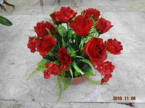 künstliche Grabgesteck Rosen/Hortensien rot