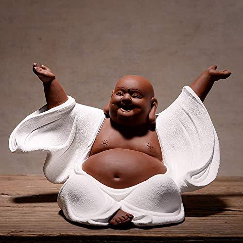 Lachender Buddha Statue Für Glück, Reichtum Und Glück, Handgemachte Chinesische Keramik Große Sitzung Maitreya Für Zen Meditation, Weiß Happy Buddha Figur Für Auto Home Schreibtisch Einrichtung -