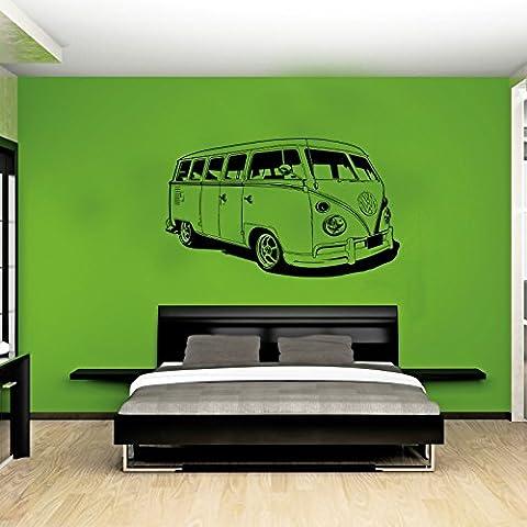 XL auto VW Camper Van stile Hippy, adesivo per parete Volkswagon-Lavavetri, blu scuro, Dark Blue Xtra Large - 99cm W x 59cm H As Pictur