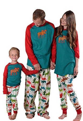 OMZIN Damen Rudolph die rote Nase Rentier Winter Lounge Pyjama Set grün / weiß M