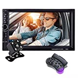 KKmoon Car Radio Touch Screen 7 Inch Double Din Car Video with Remote Control Rear Camera MP5 Player Support Microphone BT