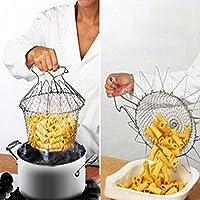 Bargain World Pieghevole risciacquo a vapore ceppo friggere cuoco cestello strumento cottura della cucina